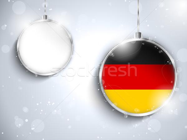 Vrolijk christmas zilver bal vlag Duitsland Stockfoto © gubh83