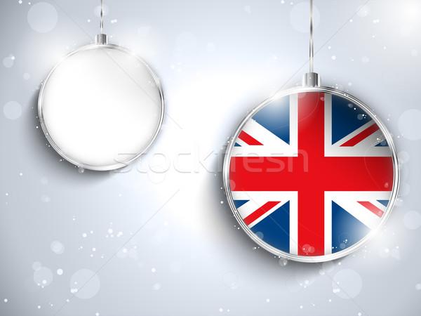 Allegro Natale argento palla bandiera Regno Unito Foto d'archivio © gubh83
