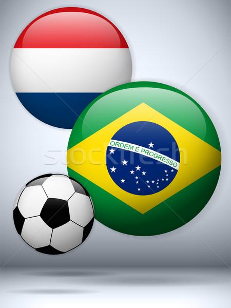 Netherlands versus Brazil Flag Soccer Game Stock photo © gubh83