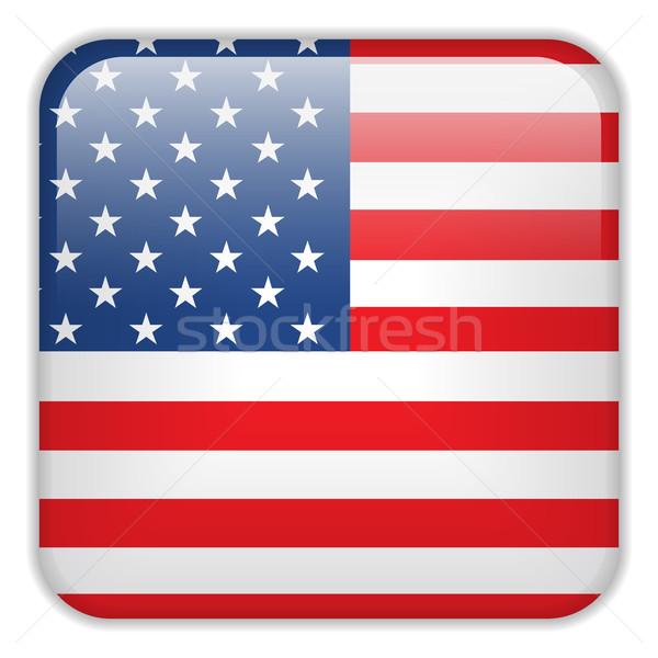 USA vlag smartphone toepassing vierkante knoppen Stockfoto © gubh83