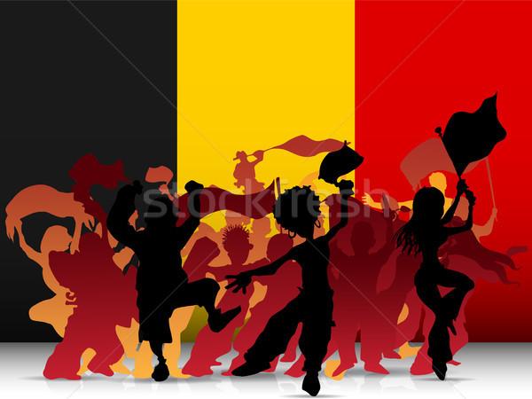 Bélgica deporte ventilador multitud bandera vector Foto stock © gubh83
