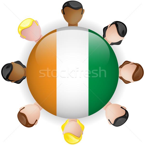 Irlandia banderą przycisk zespołowej ludzi grupy Zdjęcia stock © gubh83