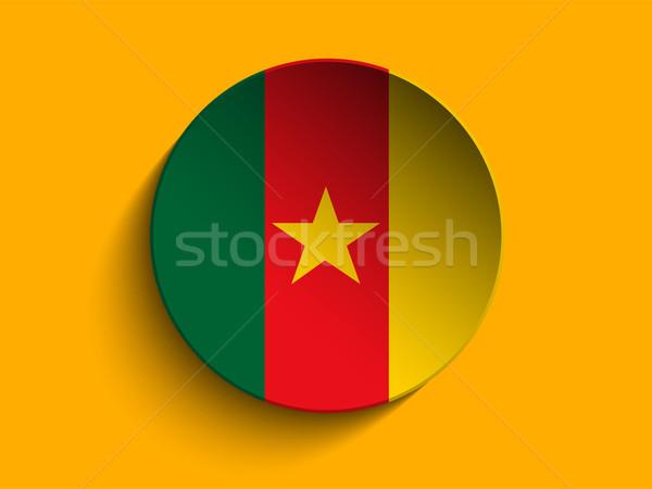 Banderą papieru kółko cień przycisk Kamerun Zdjęcia stock © gubh83