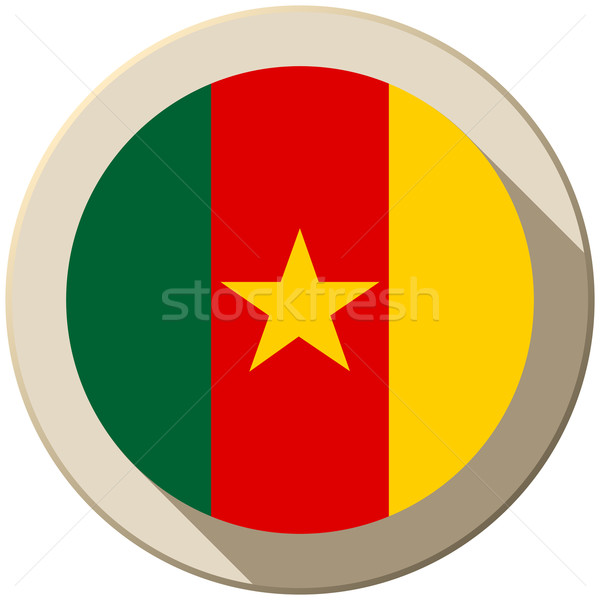 Kamerun zászló gomb ikon modern vektor Stock fotó © gubh83