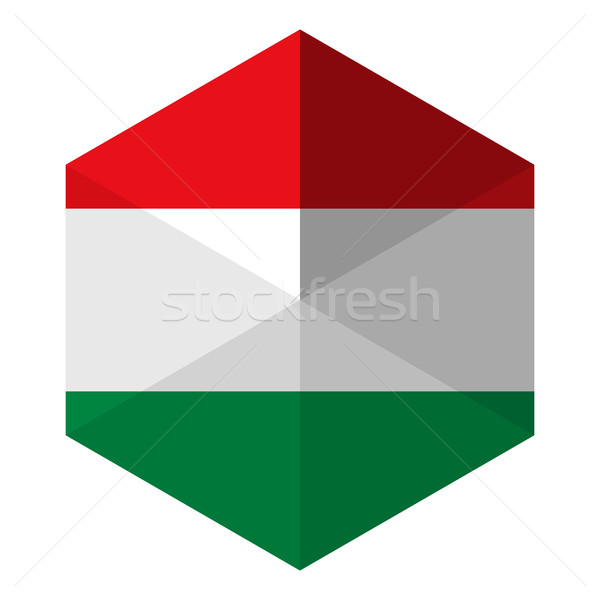 Hungria bandeira hexágono ícone botão mundo Foto stock © gubh83
