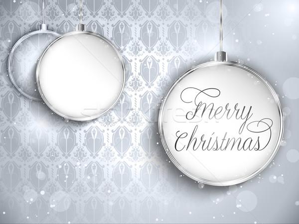 Vrolijk christmas gelukkig nieuwjaar bal zilver sterren Stockfoto © gubh83