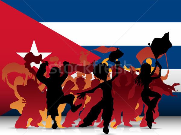 Куба спорт вентилятор толпа флаг вектора Сток-фото © gubh83