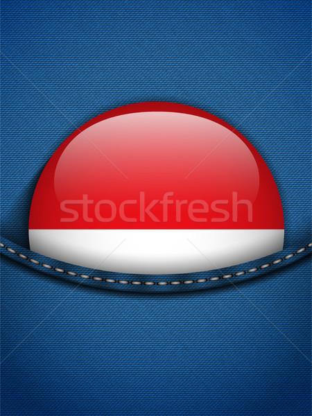 Monaco vlag knop jeans zak vector Stockfoto © gubh83