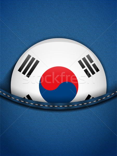 Южная Корея флаг кнопки джинсов кармана вектора Сток-фото © gubh83