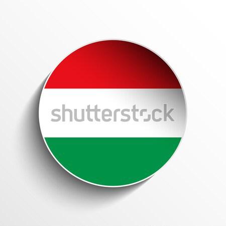 Macaristan bayrak kâğıt daire gölge düğme Stok fotoğraf © gubh83