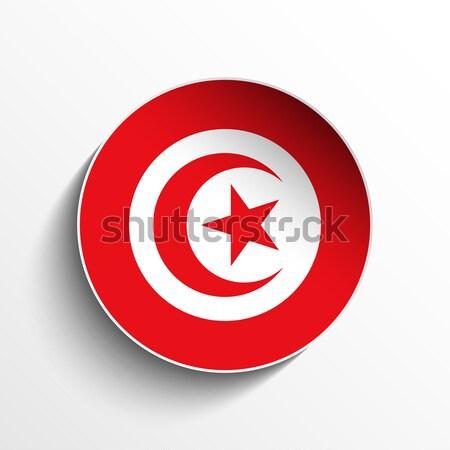 Tunisia Flag Paper Circle Shadow Button Stock photo © gubh83