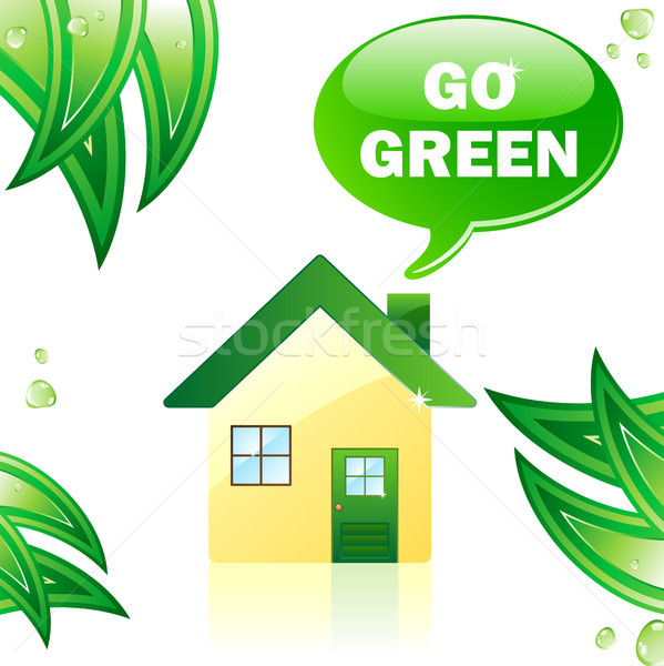 Go Green Glossy House. Stock photo © gubh83
