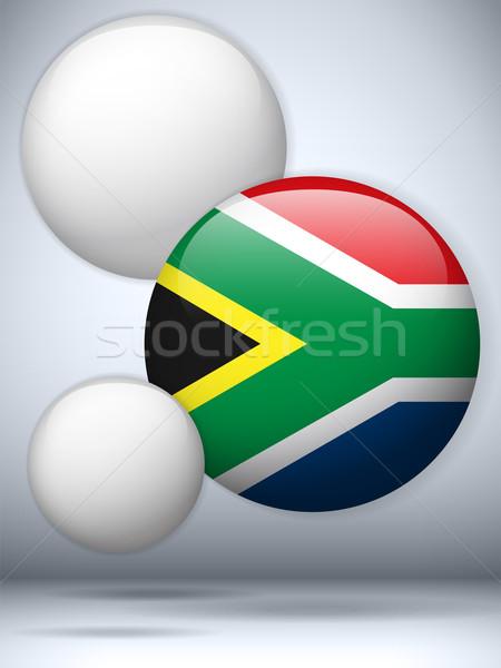 ストックフォト: 南アフリカ · フラグ · ボタン · ベクトル · ガラス