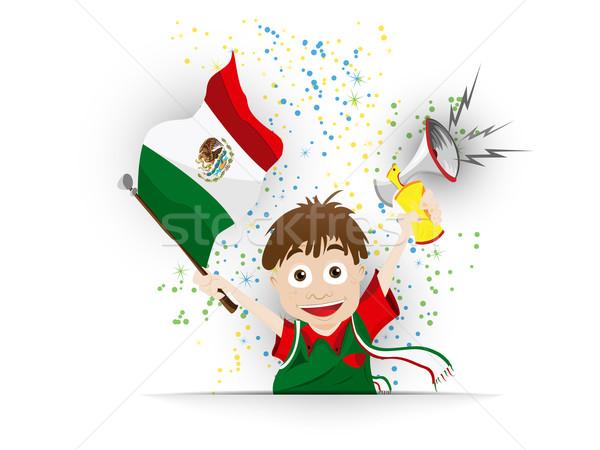 Mexico Soccer Fan Flag Cartoon Stock photo © gubh83