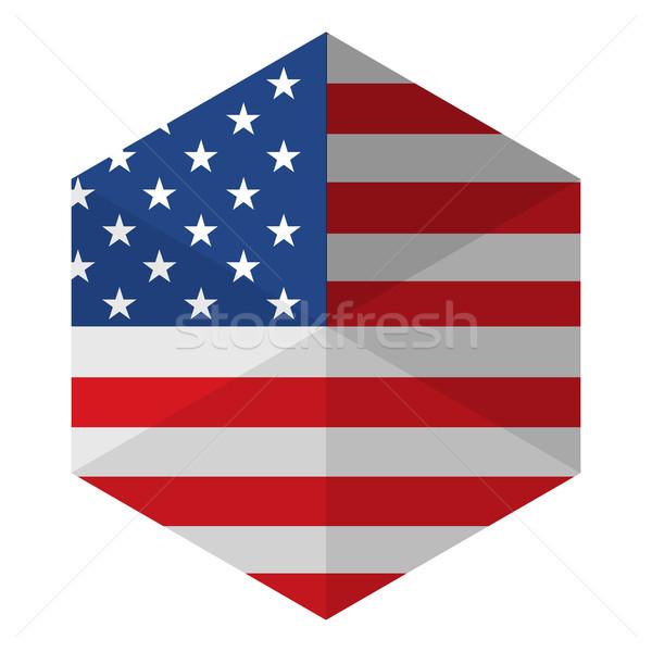 米国 フラグ 六角形 アイコン ボタン 世界 ストックフォト © gubh83