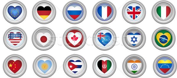 Сток-фото: Кнопки · сердце · флагами · набор · 18