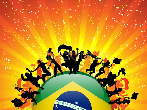 Brazil Sport Fan Crowd with Flag Stock photo © gubh83