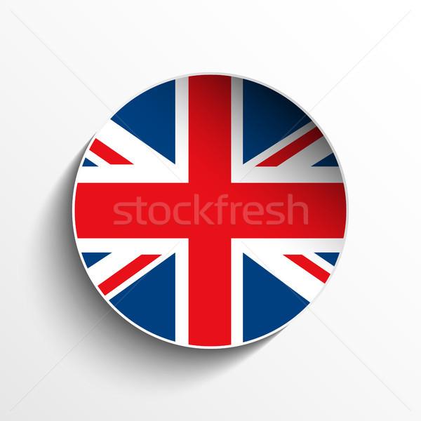 Bayrak kâğıt daire gölge düğme vektör Stok fotoğraf © gubh83