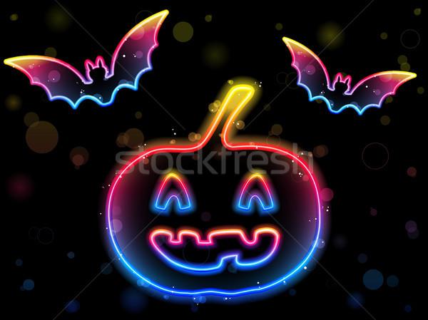 Foto stock: Halloween · neón · calabaza · vector · feliz · disco