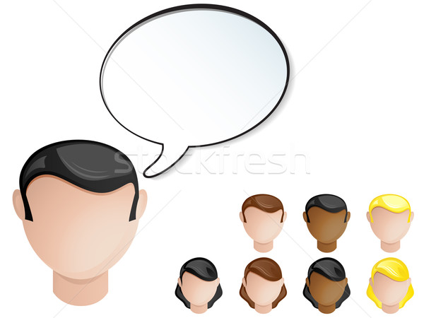 People Heads Speech Bubble. Set of 4 hair and skin colors Stock photo © gubh83