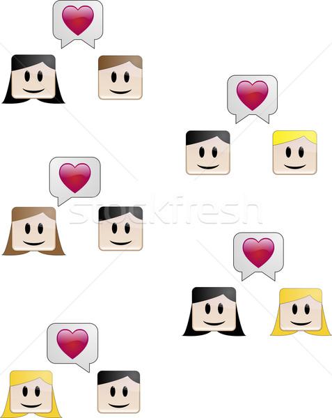 Szerelmespár beszéd heteroszexuális homoszexuális párok szív Stock fotó © gubh83
