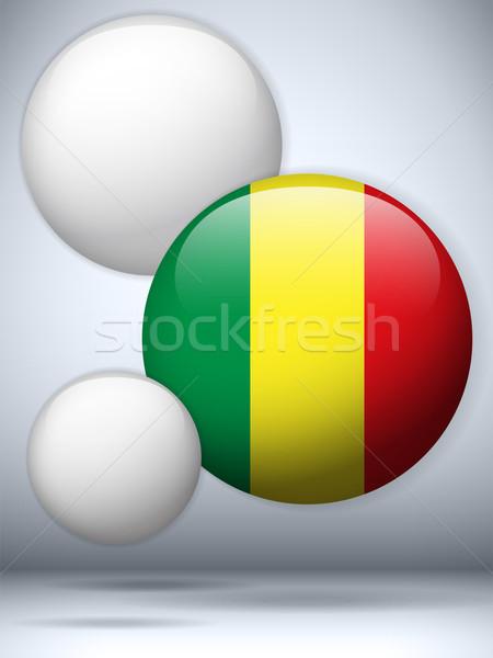 Mali bayrak parlak düğme vektör cam Stok fotoğraf © gubh83