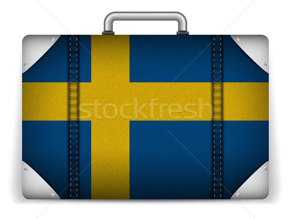 Svezia viaggio bagaglio bandiera vacanze vettore Foto d'archivio © gubh83
