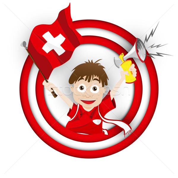 Szwajcaria piłka nożna fan banderą cartoon wektora Zdjęcia stock © gubh83