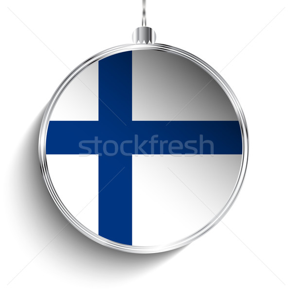 Alegre Navidad plata pelota bandera Finlandia Foto stock © gubh83