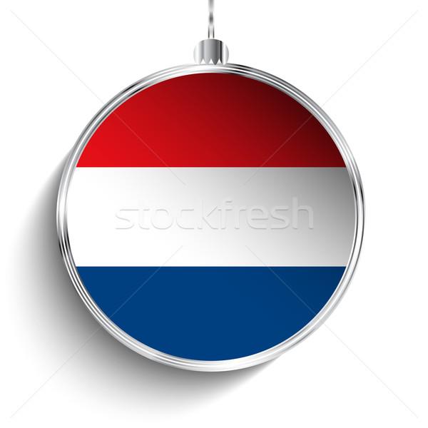 Vrolijk christmas zilver bal vlag Nederland Stockfoto © gubh83