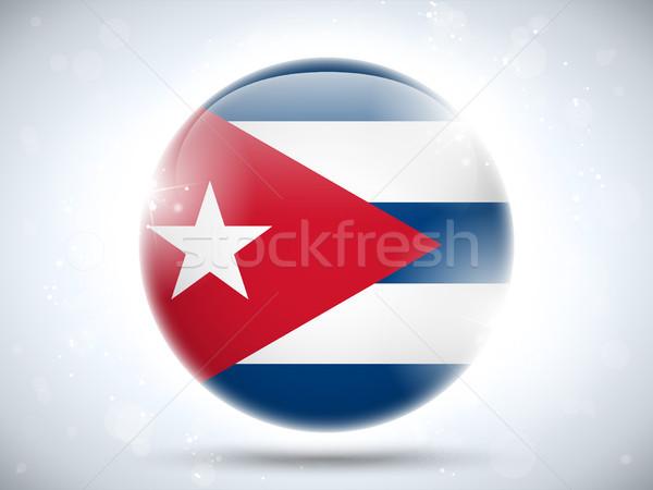 Cuba bandeira botão vetor vidro Foto stock © gubh83