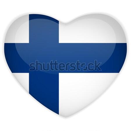 Финляндия флаг кнопки вектора стекла Сток-фото © gubh83