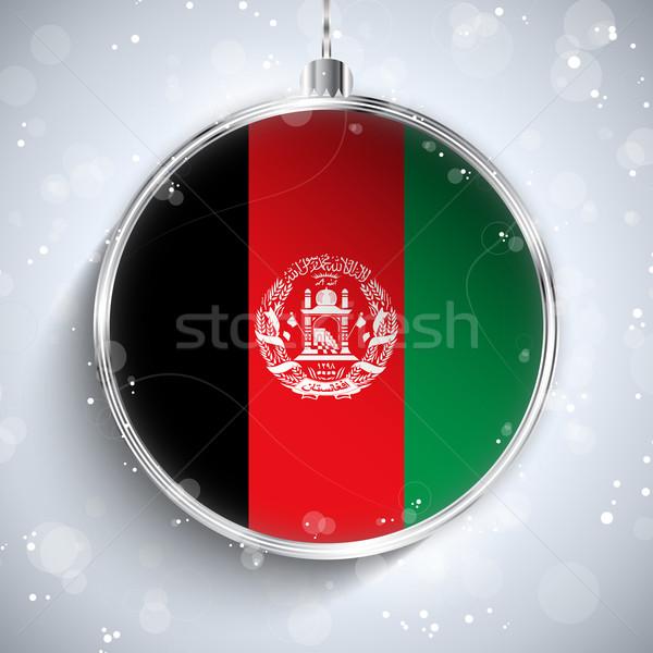 Vidám karácsony ezüst labda zászló Afganisztán Stock fotó © gubh83