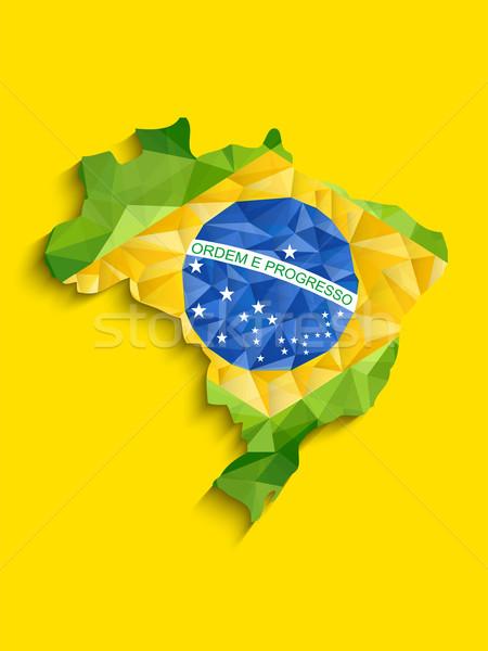 Brazil Flag Map Yellow Green Blue Background Stock photo © gubh83
