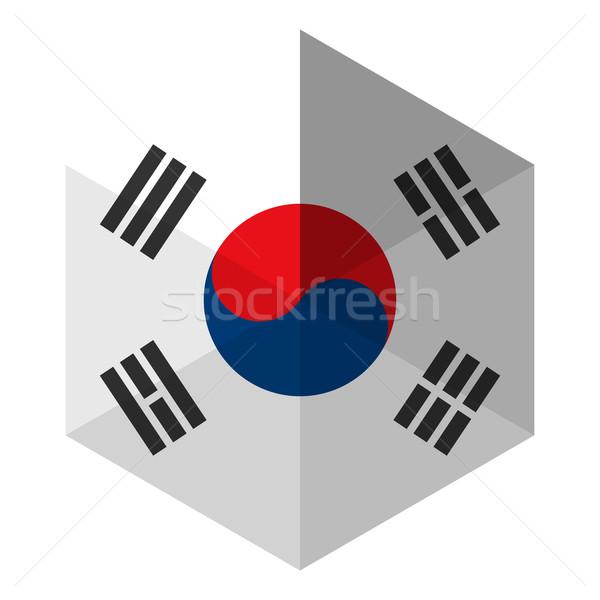 Южная Корея флаг шестиугольник икона кнопки Мир Сток-фото © gubh83