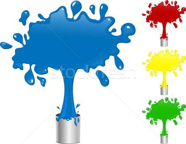 Blue, Red, Yellow and Green Paint Splash Buckets. Stock photo © gubh83