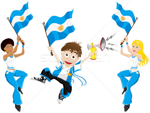 Argentina Sport Fan with Flag and Horn Stock photo © gubh83