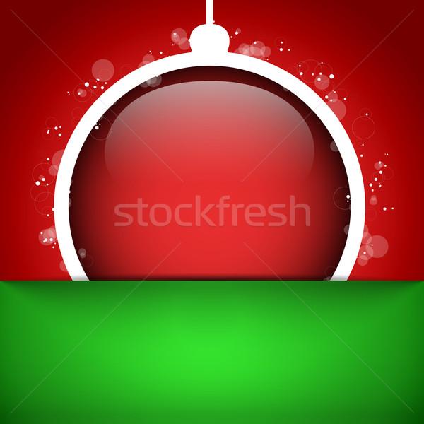 Vidám karácsony boldog új évet labda piros vektor Stock fotó © gubh83