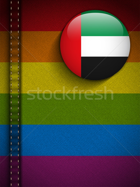 Gay Flag Button on Jeans Fabric Texture Emirates Stock photo © gubh83