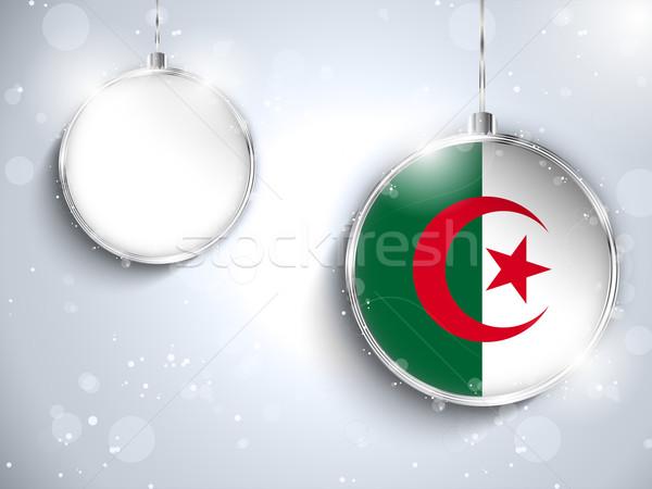 Joyeux Noël argent balle pavillon Algérie Photo stock © gubh83