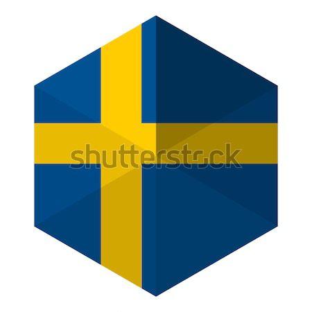 Svédország zászló hatszög ikon gomb világ Stock fotó © gubh83