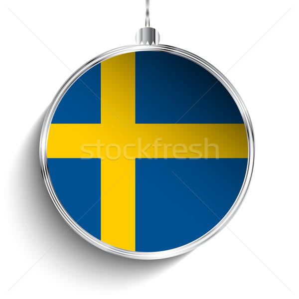 陽気な クリスマス 銀 ボール フラグ スウェーデン ストックフォト © gubh83