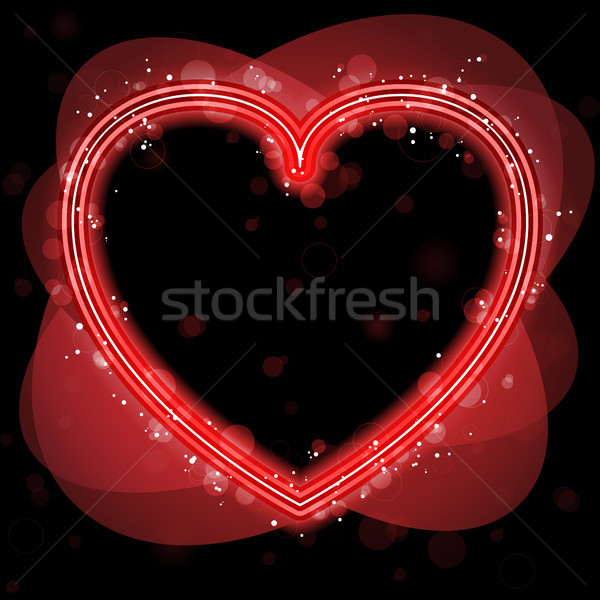 Red Heart Border with Sparkles and Swirls. Stock photo © gubh83