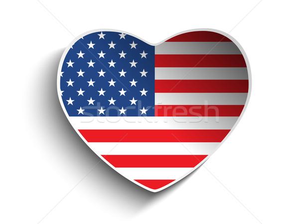 Stock fotó: USA · zászló · szív · papír · matrica · vektor