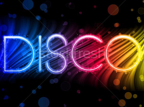 Stockfoto: Disco · abstract · kleurrijk · golven · zwarte · vector