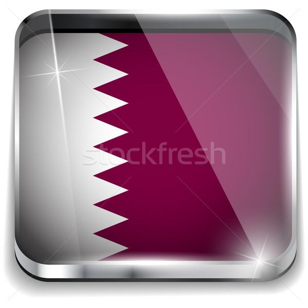 Katar banderą smartphone aplikacja placu przyciski Zdjęcia stock © gubh83