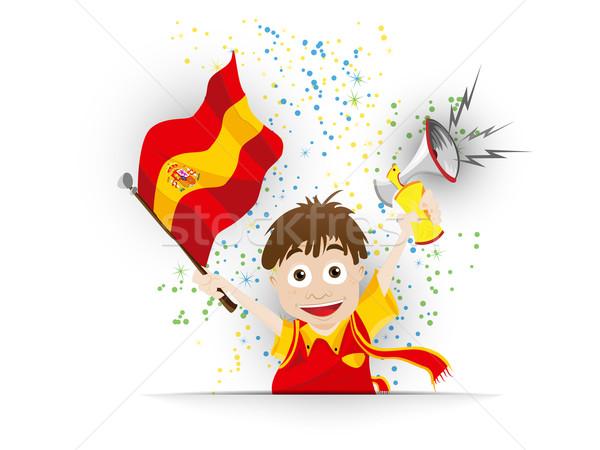 Spanyolország futball ventillátor zászló rajz vektor Stock fotó © gubh83