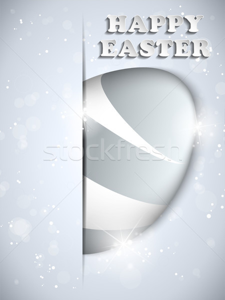 Happy Easter Silver Egg Shiny Metal Stock photo © gubh83
