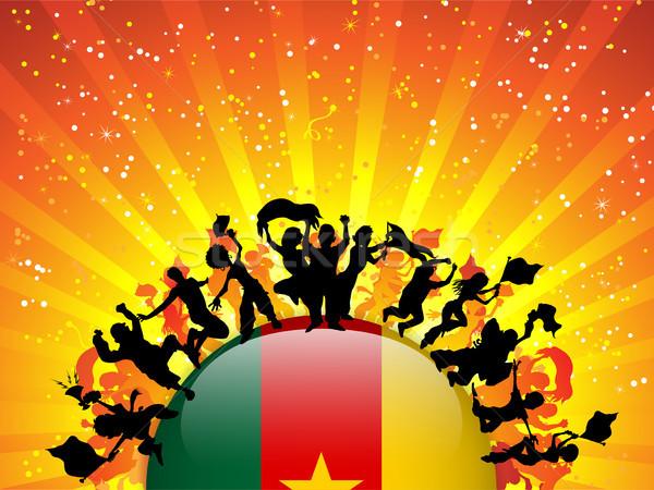 Camarões esportes ventilador multidão bandeira vetor Foto stock © gubh83