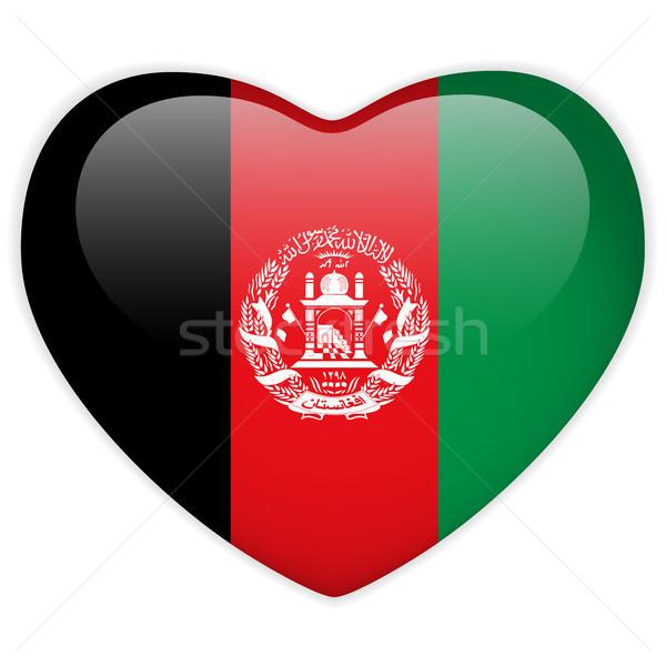 Afganistan bayrak kalp parlak düğme vektör Stok fotoğraf © gubh83